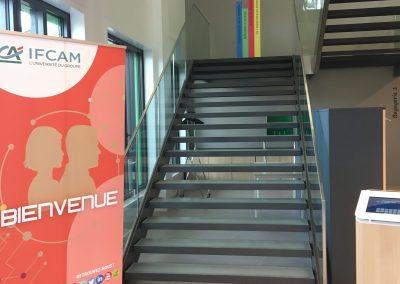 """Escalier menant à l'expo """"Apprendre, le cerveau livre ses secrets"""""""